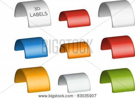 Collection of 9 isolated colorful 3D labels