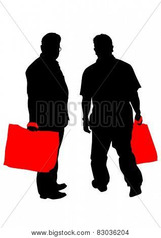 Silhouette of man with pack on white background