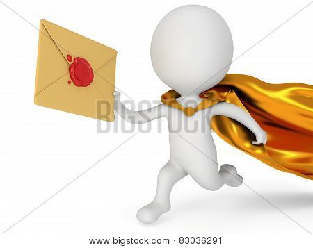Brave Superhero Mailman With Envelope