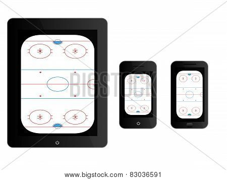Mobile Devices With Hockey Rink Black
