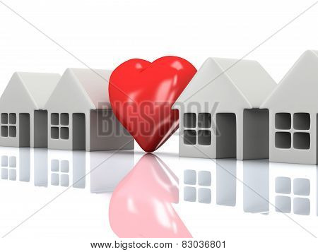 Row Of Houses And Heart With Reflection. 3D Render.