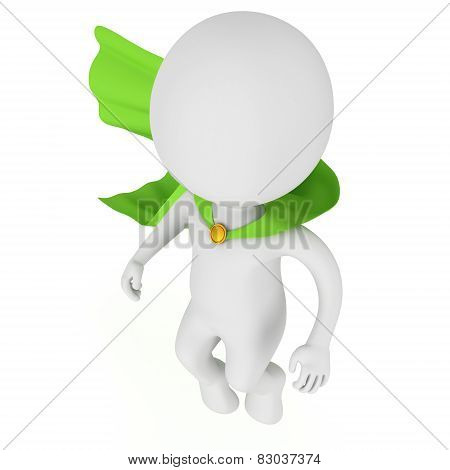3d brave superhero with green cloak levitate above
