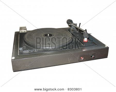 Old Dusty Vinyl Turntable Player Isolated Over White