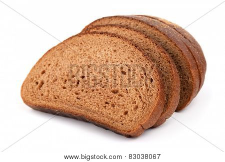 Sliced rye bread isolated on white