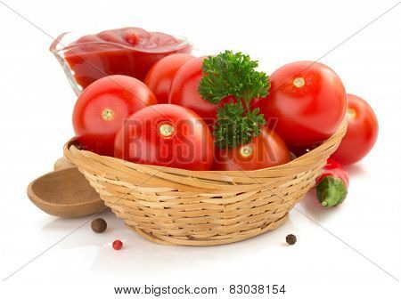 tomato and sauce isolated on white background