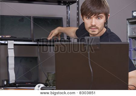 Computer Technician At Work