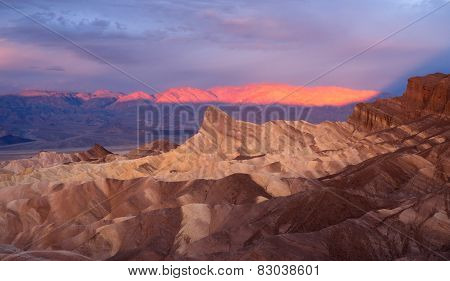 Dramatic Light Badlands Amargosa Mountain Range Death Valley Zabriskie Point