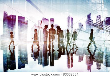 Business People Working and Urban Scene