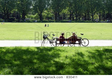Bikers couple in the park