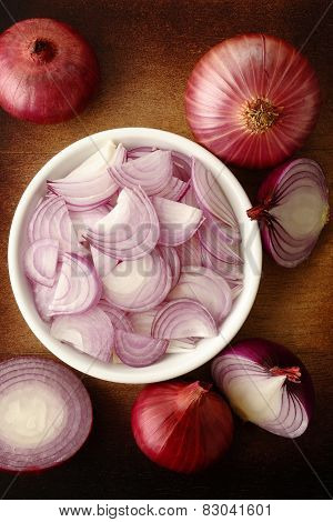 Sliced Shallot Onion In White Bowl