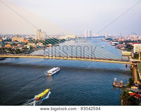 Aerial View Of The Chao Phraya River