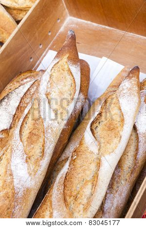 baguettes, market in Forcalquier, Provence, France