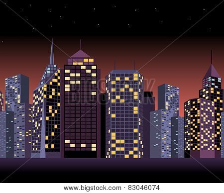 Seamless urban landscape with skyscrapers in night