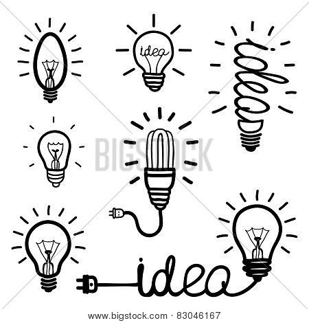 Hand drawn light bulb icons