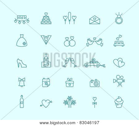 Thin line wedding icons