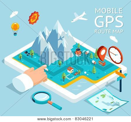 Isometric mobile GPS navigation flat map