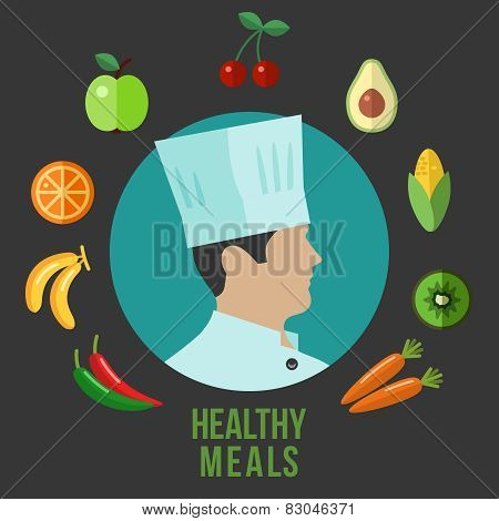 Healthy food cooking flat icons