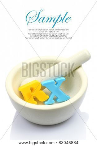 Empty white mortar and pestle with colorful letters RX isolated