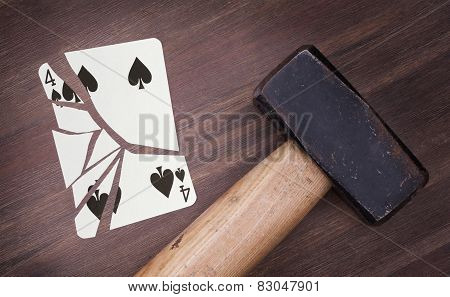 Hammer With A Broken Card, Four Of Spades