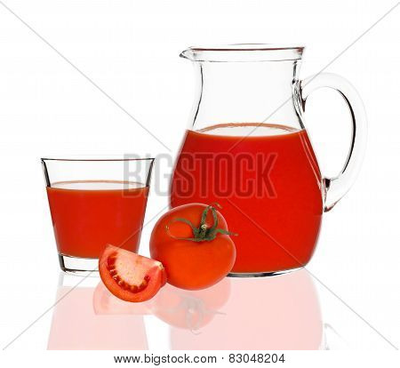 Tomato Juice In A Glass And Jug