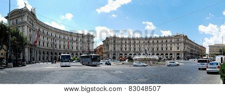 View Of Rome City Piazza Della Reppublica On June 1, 2014