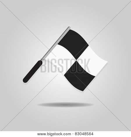 Abstract assistant referee wavy flag icon