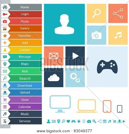 Flat Web Design elements, buttons, icons for interface, websites, apps.