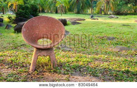 Stone Chair In The Garden