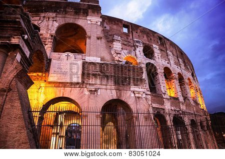 Night View Of Roman Coliseum, Rome, Italy.