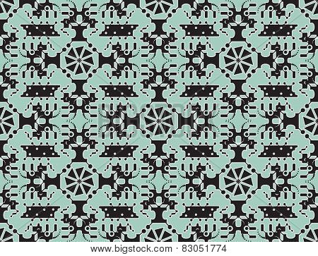Seamless pattern with cute monsters and robots. Creative vector background.