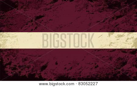 Latvian flag. Grunge background. Vector illustration