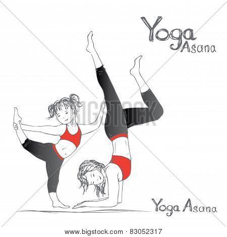 Girl And Woman Doing Yoga Poses,  Vector Illustration