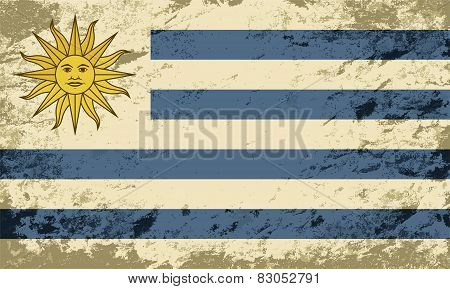 Uruguayan flag. Grunge background. Vector illustration