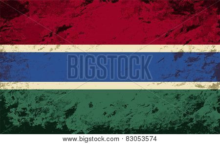Gambian flag. Grunge background. Vector illustration