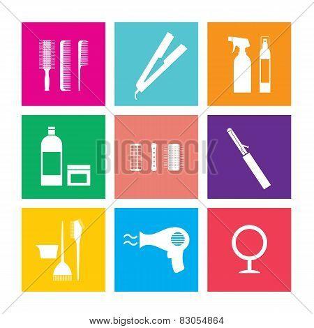 Flat Design Hairdressing Icons Set.