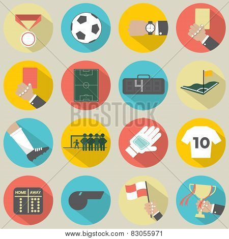 Flat Design Football / Soccer Icons Set.