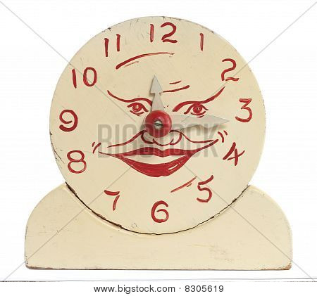 Old Handmade Wooden Toy Clock
