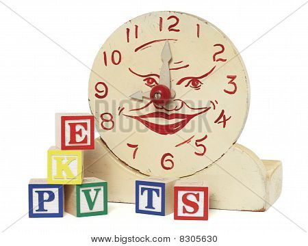 Old Handmade Wooden Toy Clock And Alphabet Blocks