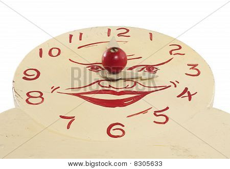 Old Handmade Wooden Toy Clock Face