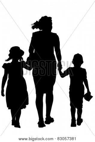 Families, people with little child on white background