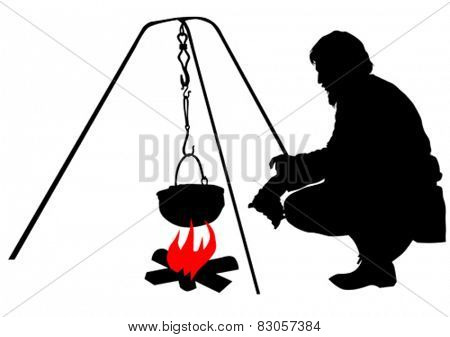 Silhouettes of tourist around the campfire on a white background