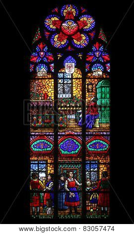 VIENNA, AUSTRIA - OCTOBER 11: The miraculous image of Mary at Absam, Stained glass in Votiv Kirche (The Votive Church). It is a neo-Gothic church in Vienna, Austria on October 11, 2014