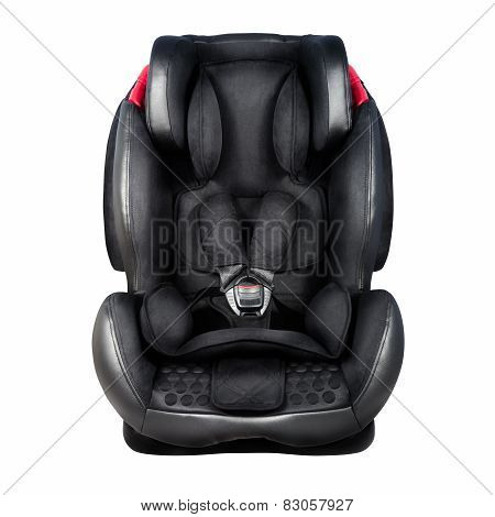 Child Safety Seat. Baby Car Seat Isolated On White Background With Clipping Path