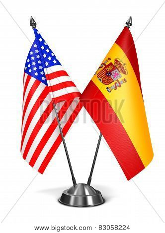 USA and Spain - Miniature Flags.