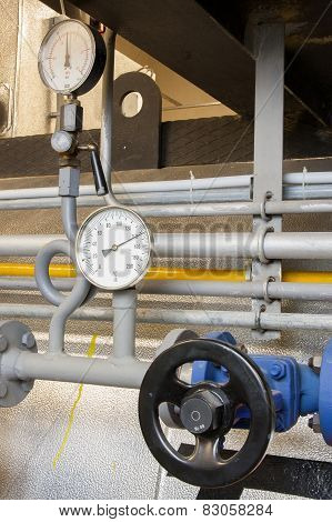 Manometer Pressure Gas Line With Valve