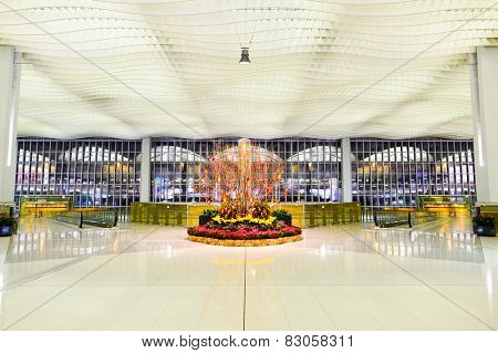 HONG KONG - FEBRUARY 04, 2015: interior of Hong Kong International Airport, the one of the best airport in the annual passenger survey by Skytrax.