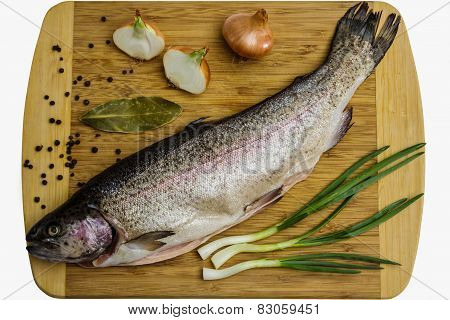 Fresh Salmon Trout With Bay Leaf, Black Pepper And Onion Isolated
