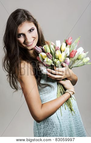 The Young Girl With Plastic Tulips