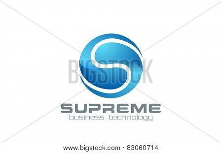 Letter S Logo Sphere Abstract Business Technology Infinity loop design vector template.  Creative Corporate infinite looped Logotype concept circle icon.