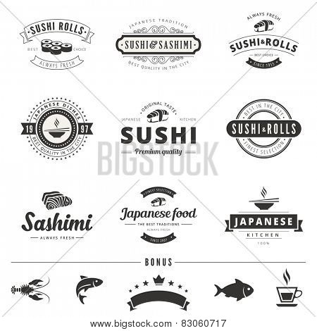 Sushi Rolls Sashimi Retro Vintage Labels Hipster Logo design vector typography lettering templates.  Old style elements, business signs, logos, logotypes, label, badges, stamps and symbols.